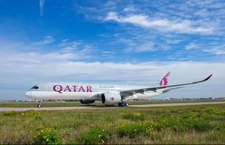 First A350 flight by Qatar Airways to Frankfurt